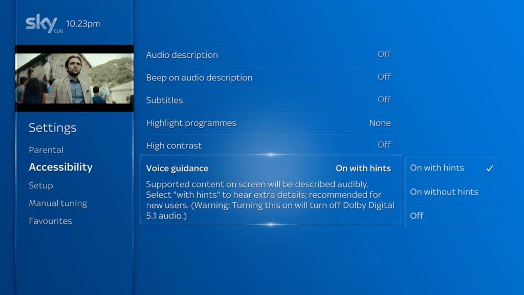 Sky Q Voice Guidance menu