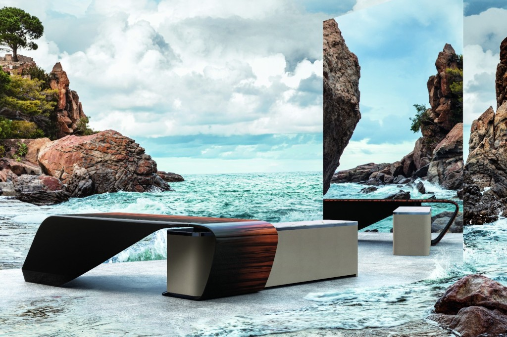 Bentley Collection 2021 Styal Desk posed in front of a dramatic seascape