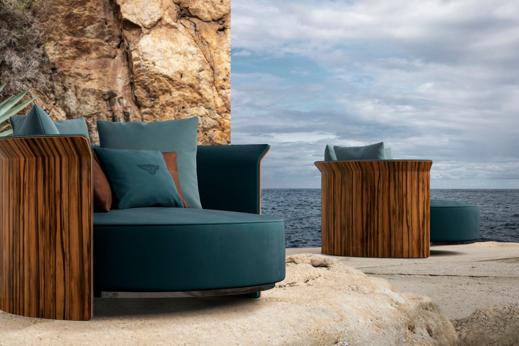 Bentley Home Collection Ramsey loveseat posed on a rocky outcrop