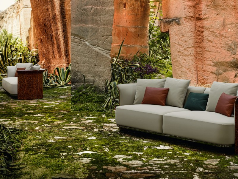 Bentley Home Collection Ramsey Sofa in a forest setting