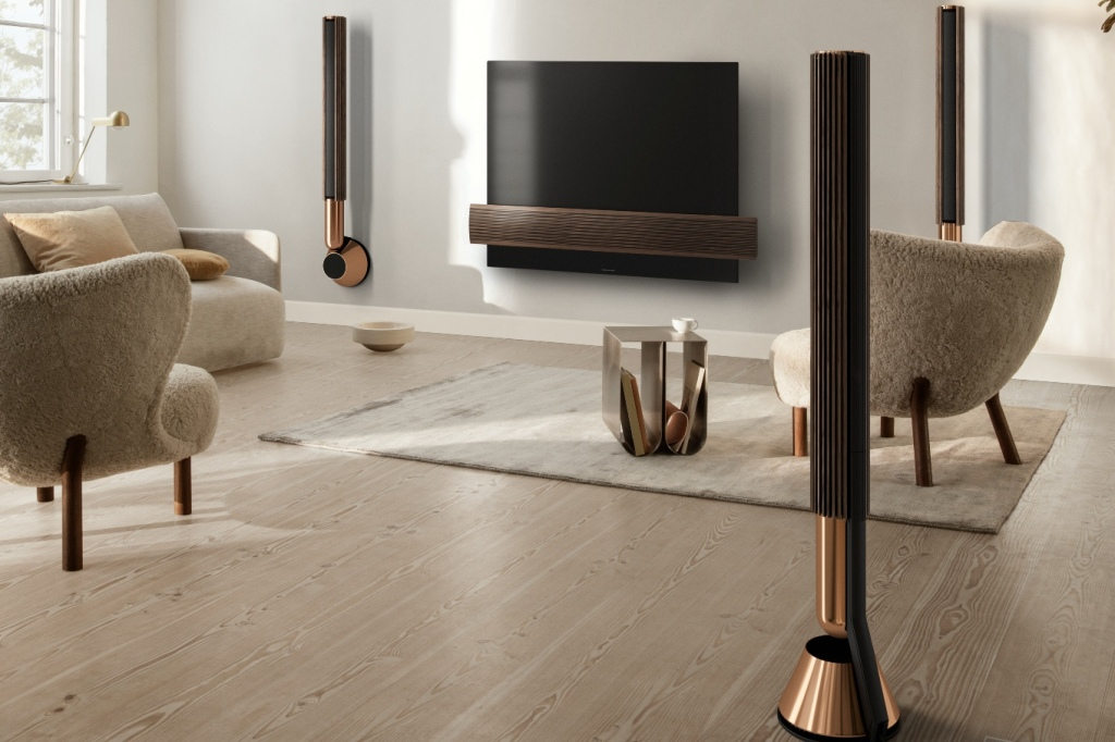 Bang & Olufsen Beolab 28 speakers wall and floor mounted in a living room