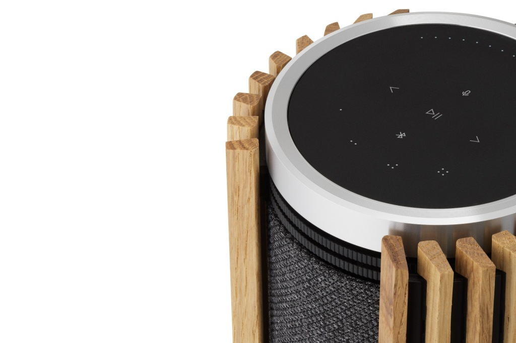 Close up of the touch control pad on a Bang & Olufsen Beolab 28 speaker