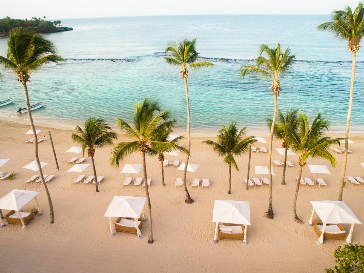 The sandy private beach at Casa De Campo Resort and Villas
