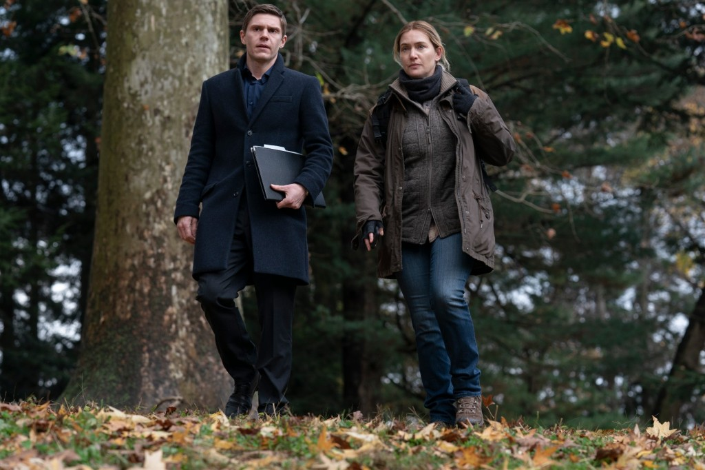 Evan Peters and Kate Winslet on location in Mare of Easttown