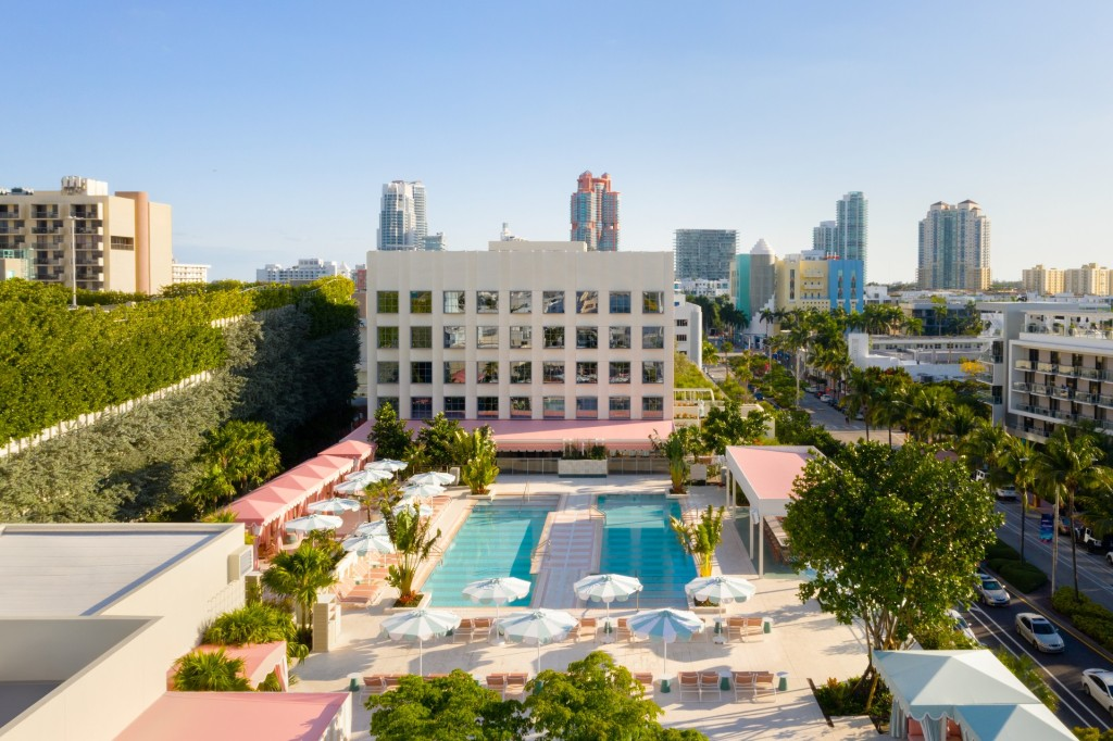 Spectacular aerial view of the Goodtime Hotel Miami and its grounds