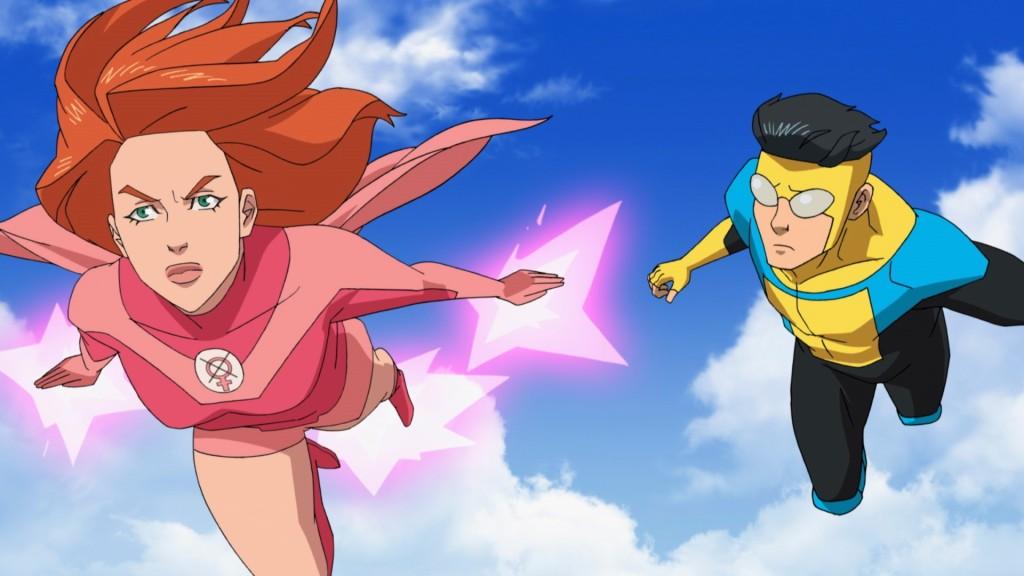Superhero Invincible in flight with female hero Atom Eve