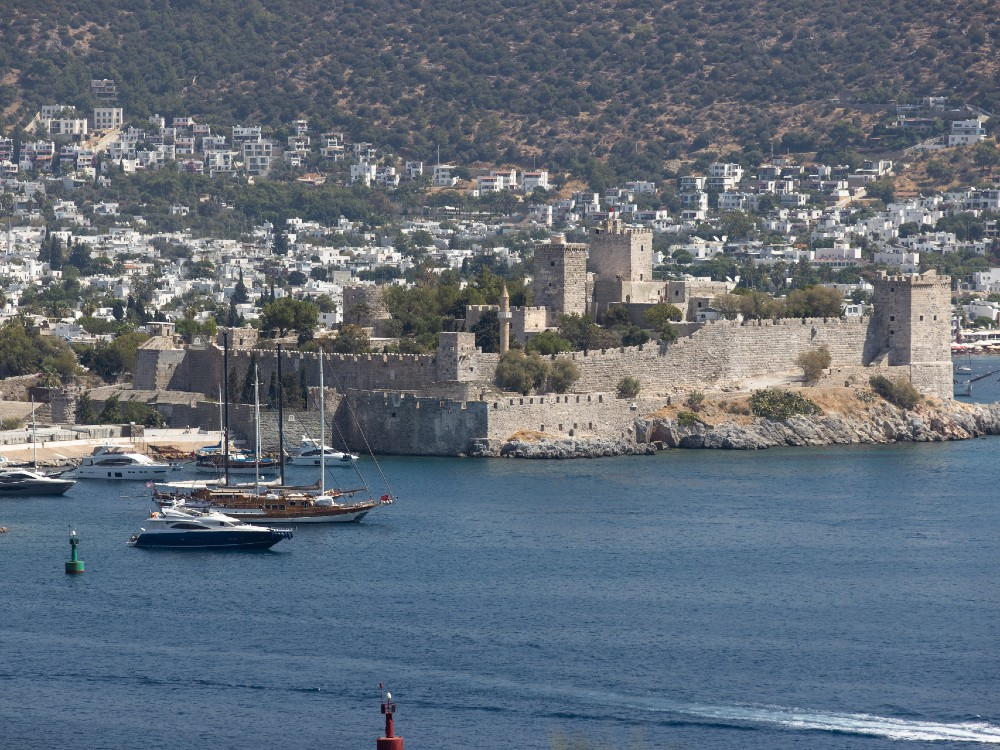 Garden view across the old town of Bodrum