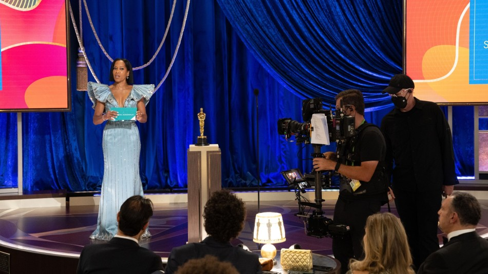 Regina King on stage at the 2021 Oscars