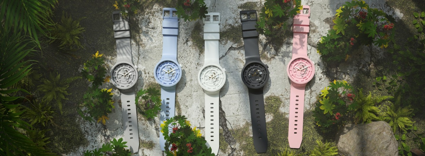 The Swatch biometric Big Bold collection in grey, blue, white, black and pink