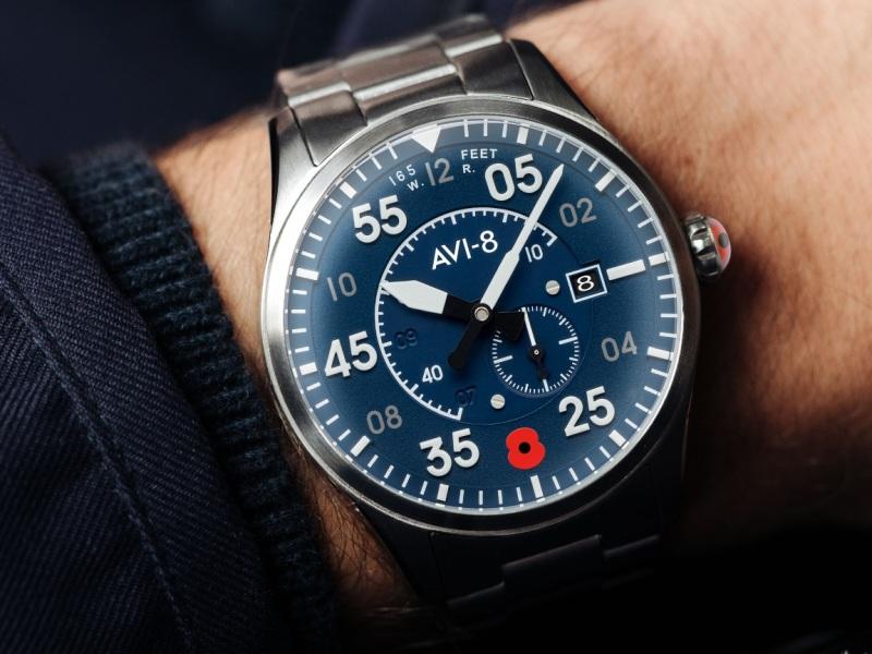 Close up of AVI-8 Royal British Legion Spitfire watch worn on a wrist