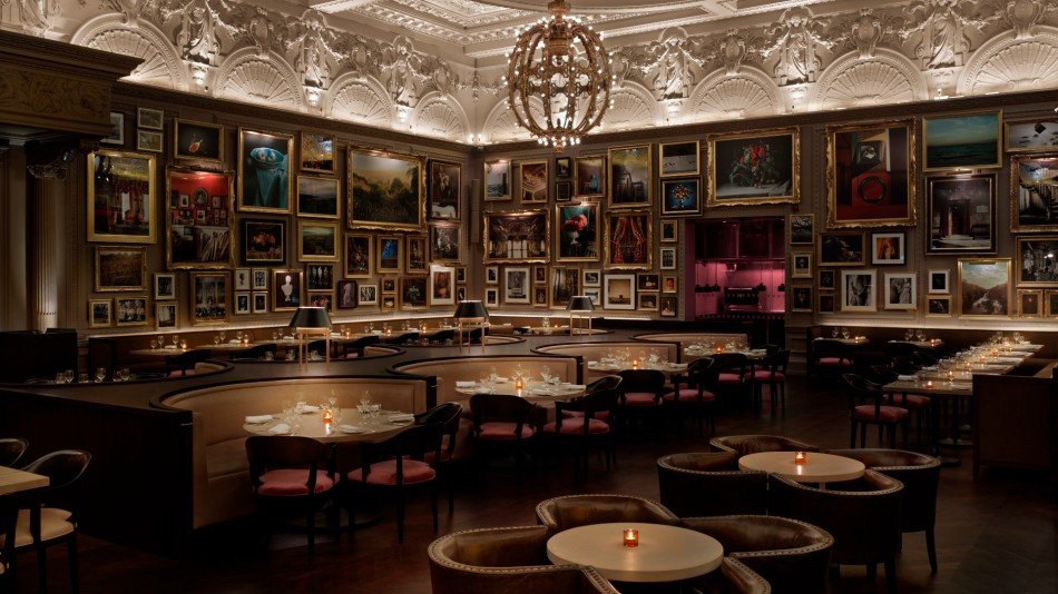 Empty table inside Berners Tavern at The London EDITION hotel