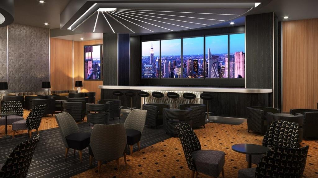 Concept art for the Bleeker Street lounger in Disney's Hotel New York Paris