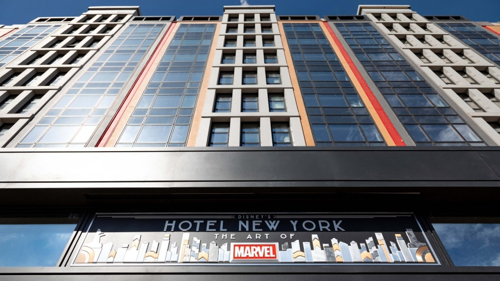 The outer fscia of the Disney's Hotel New York with Art of Marvel branding