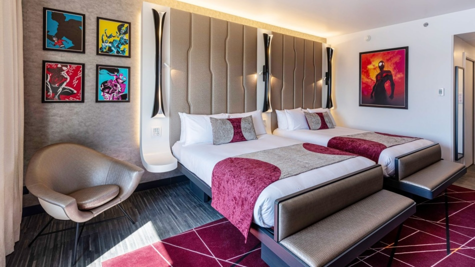 The Executive room in Disney's Hotel New York with Marvel artworks on the wall