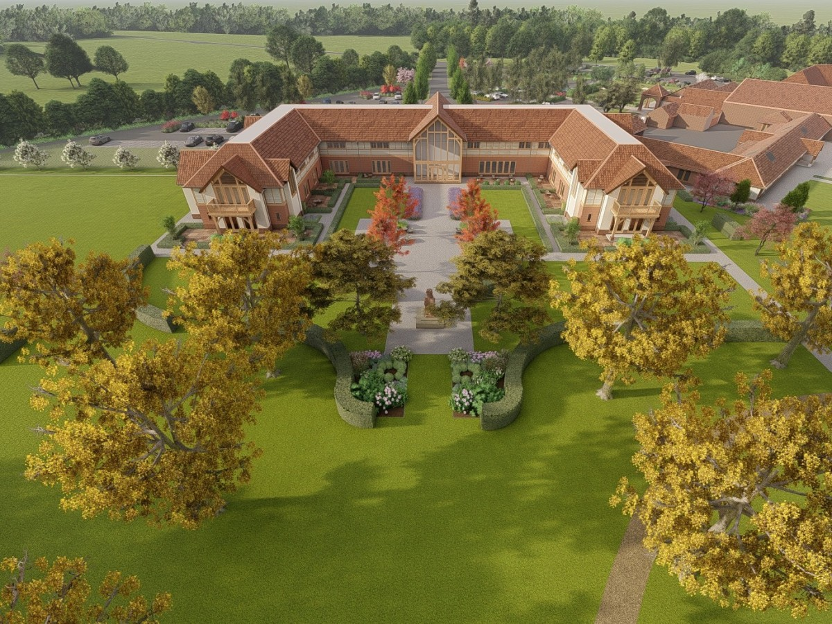 Aerial view of the Sandburn Hall hotel and grounds
