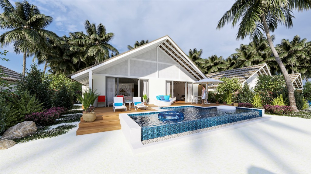 Sunlit exterior of a Family Beach Pool Villa at Cora Cora Maldives hotel