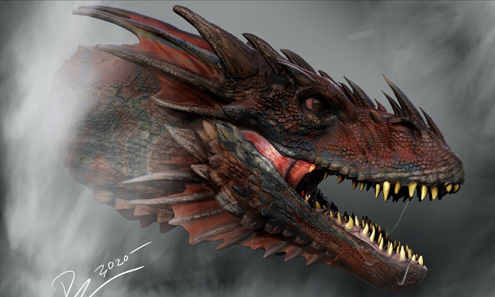 A dragon's head appearing through smokeke concept art from House of the Dragon