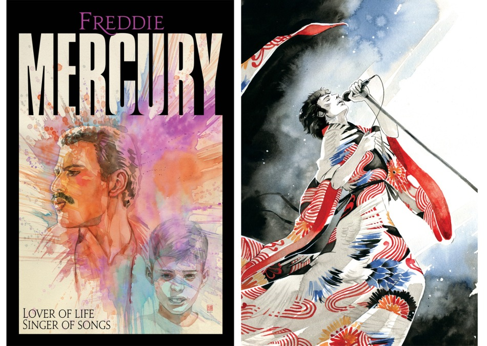 The cover and interior painted art of the Freddie Mercury graphic novel