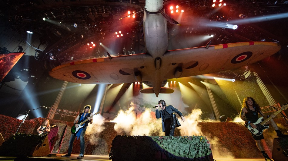 Iron Maiden on stage during the Legacy Of The Beast Tour in Tallinn Estonia
