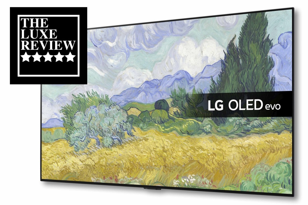 LG G1 OLED Evo TV with 5 Star Best Buy badge from The Luxe Review