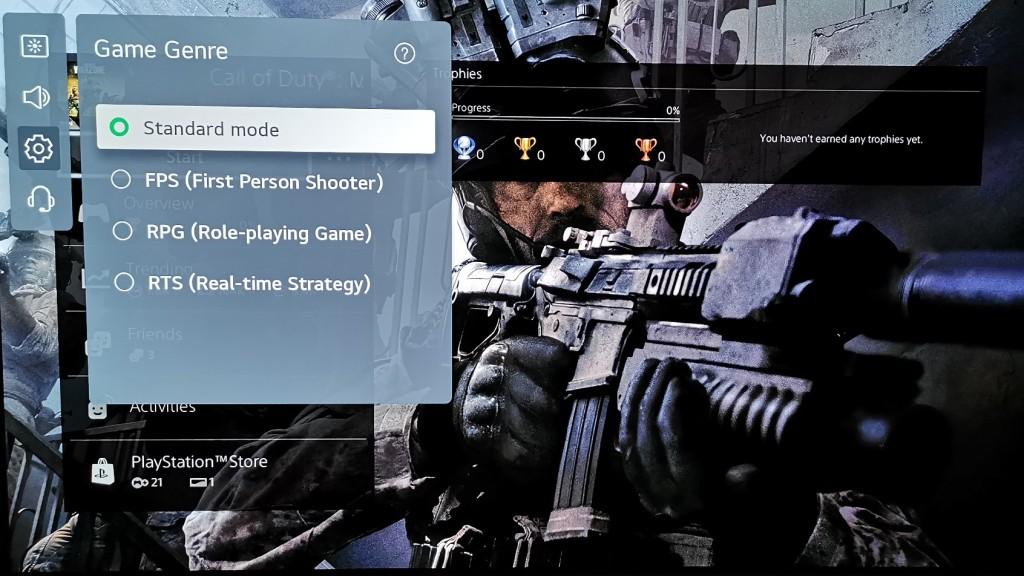 LG G1 Game Optimizer Game Genre menu option
