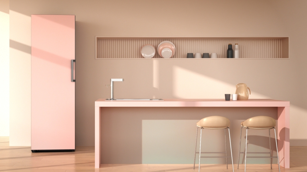 The LG Object Fridge in pink in a pink kitchen setting