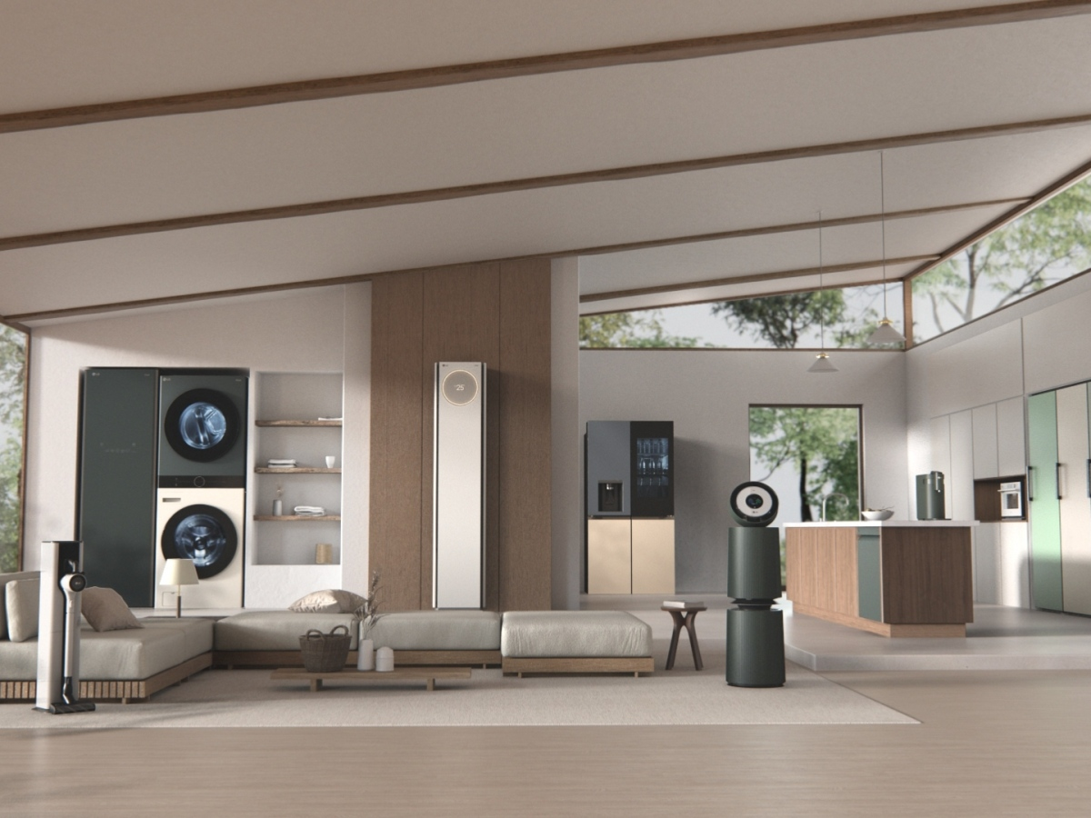 The complete LG Object home appliance collection in a open plan setting