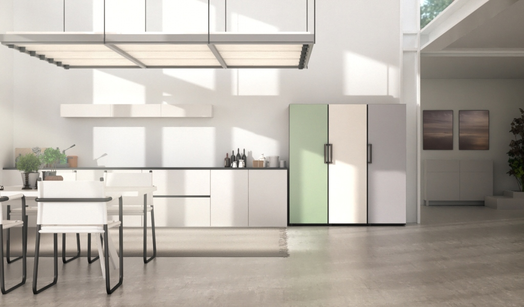 The LG Object Fridge and Freezer collection in mint in an open plan kitchen