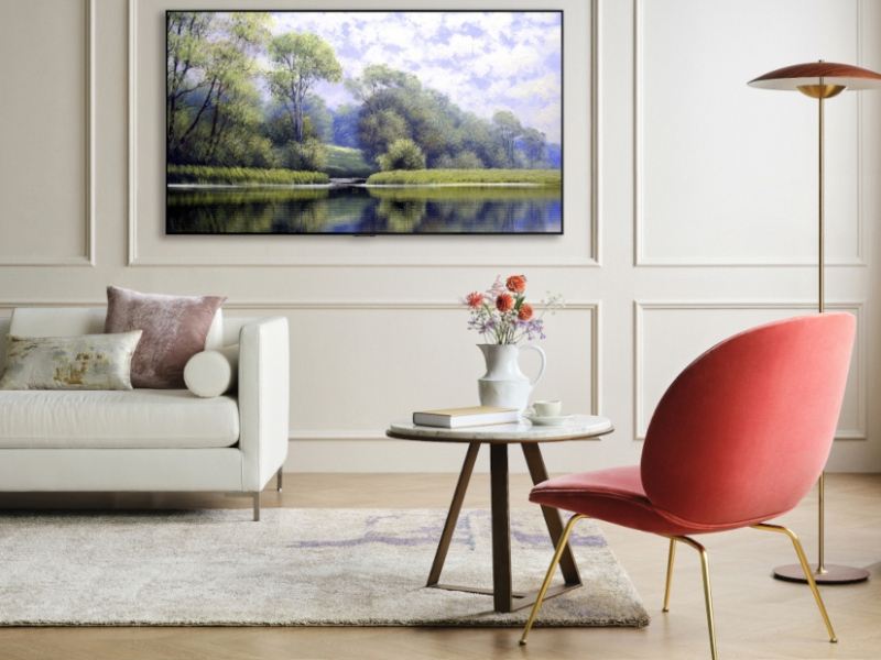 LG G1 OLED Evo TV on a wall in an upmarket lounge