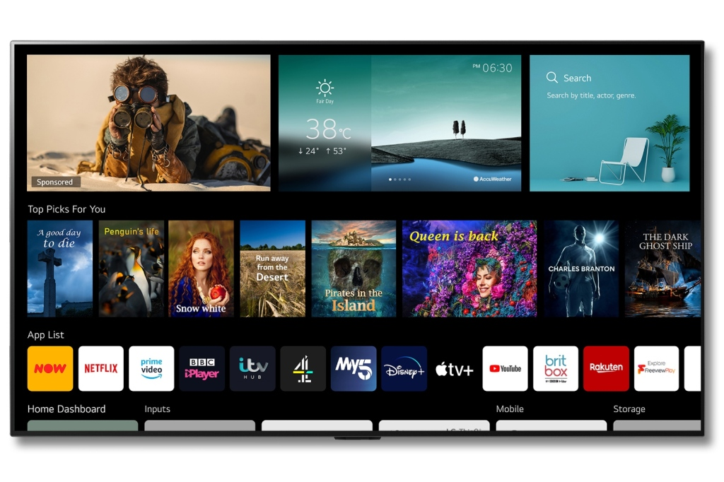 LG 2021 OLED TV with webOS v6.0 home screen