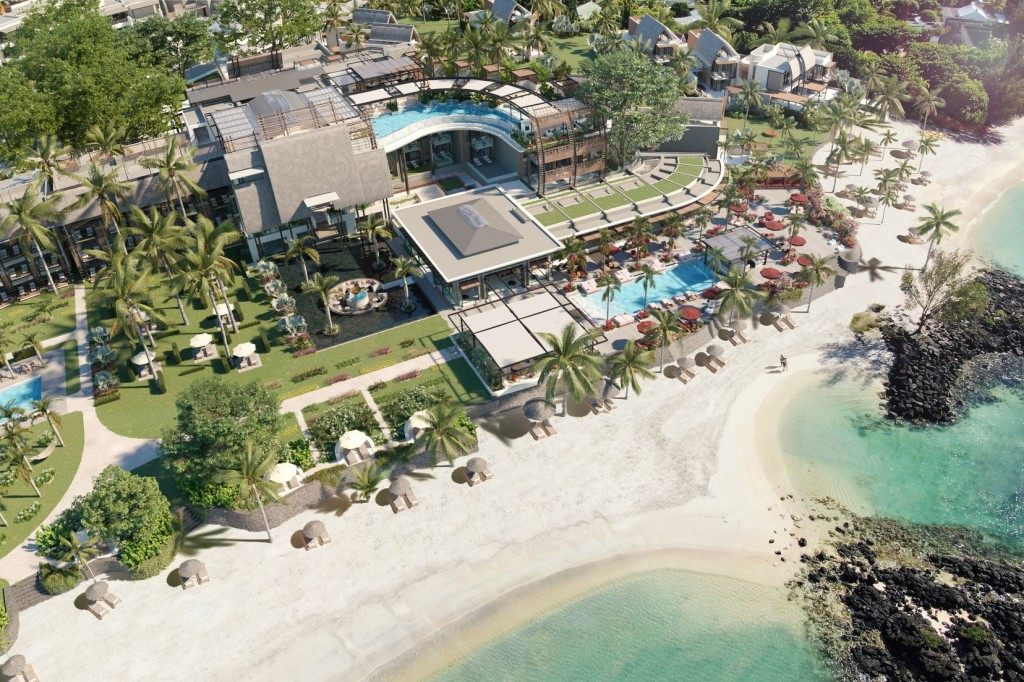 The beach and LUX Grand Baie resort in Mauritius as seen from the air