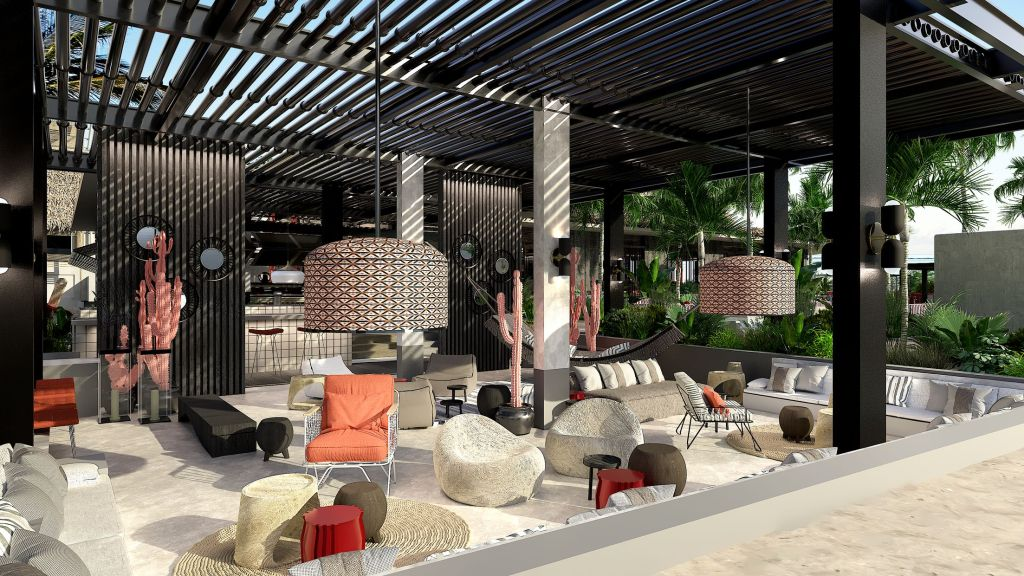 Seating at the LUX Grand Baie Beach Rouge beach club at resort Mauritius