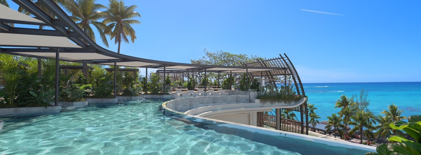 Infinity pool at the LUX Grand Baie resort Mauritius