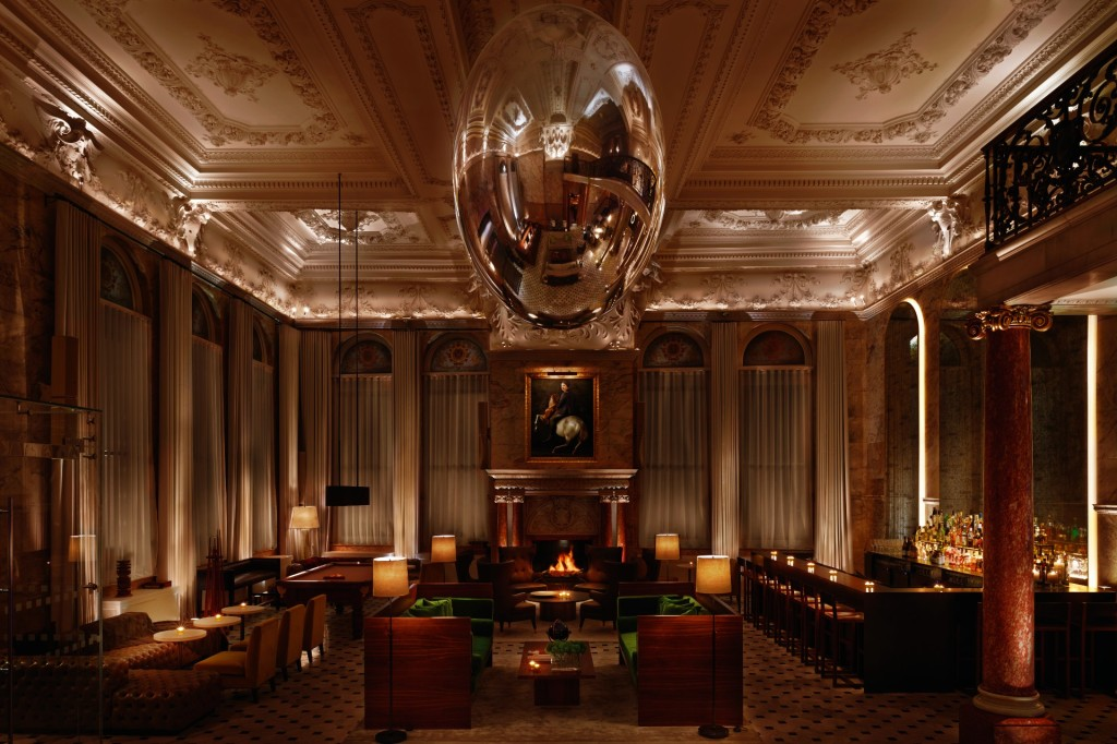 The lavish lobby at The London EDITION
