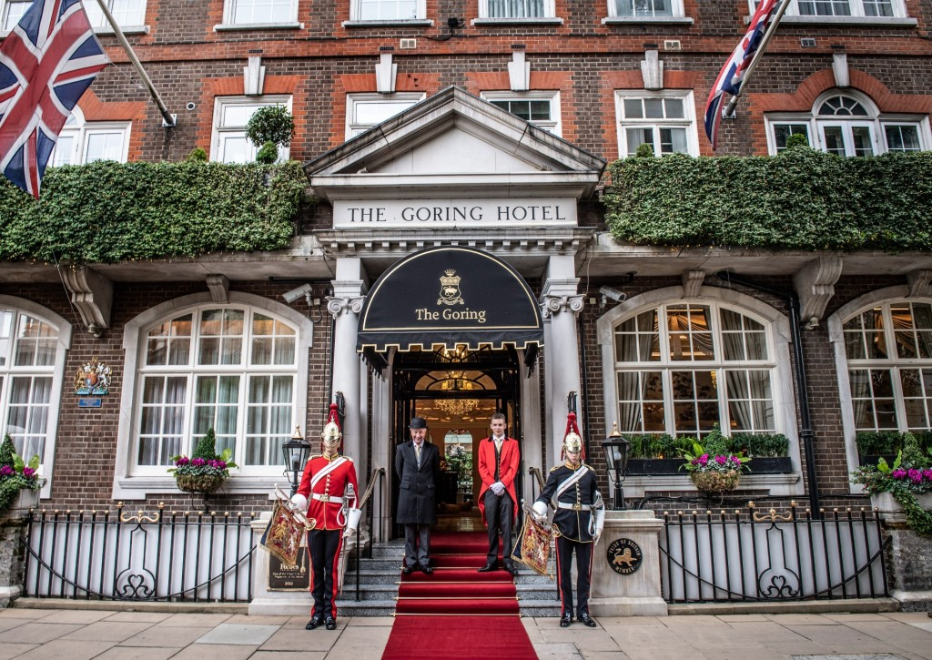 The exterior of The Goring hotel Belgravia with the Queen's guard stationed at the door