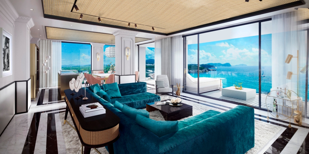 Inside a suite at the BLESS Hotel Ibiza with sea view