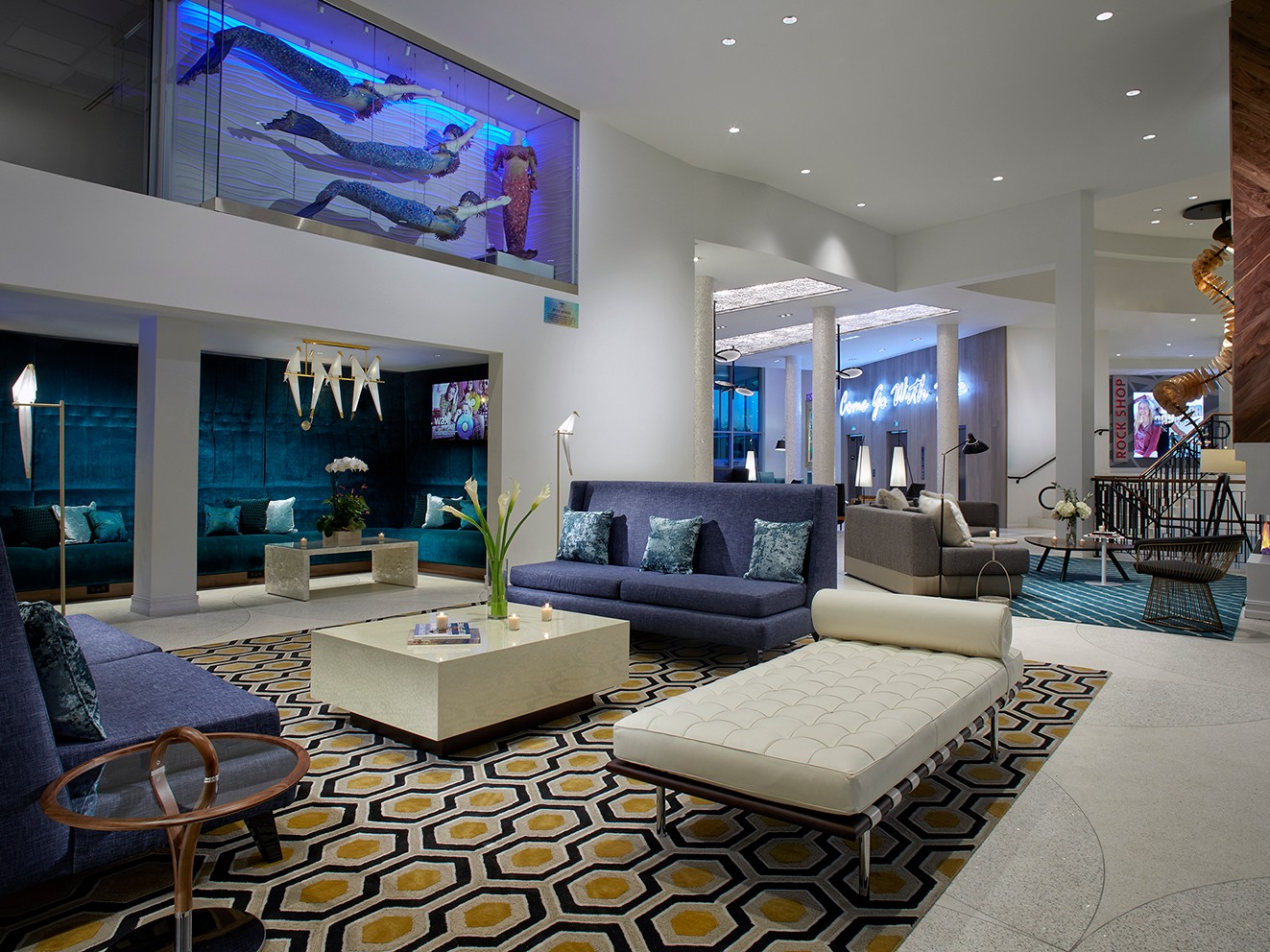 The lobby of the Hard Rock Hotel Daytona Beach