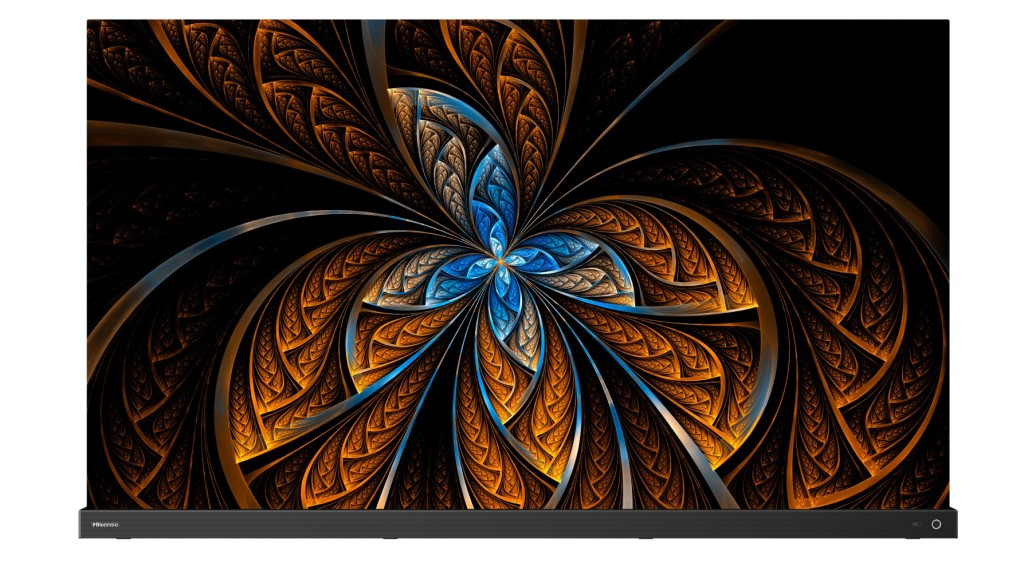Hisense A9G OLED TV with a colour abstract pattern onscreen