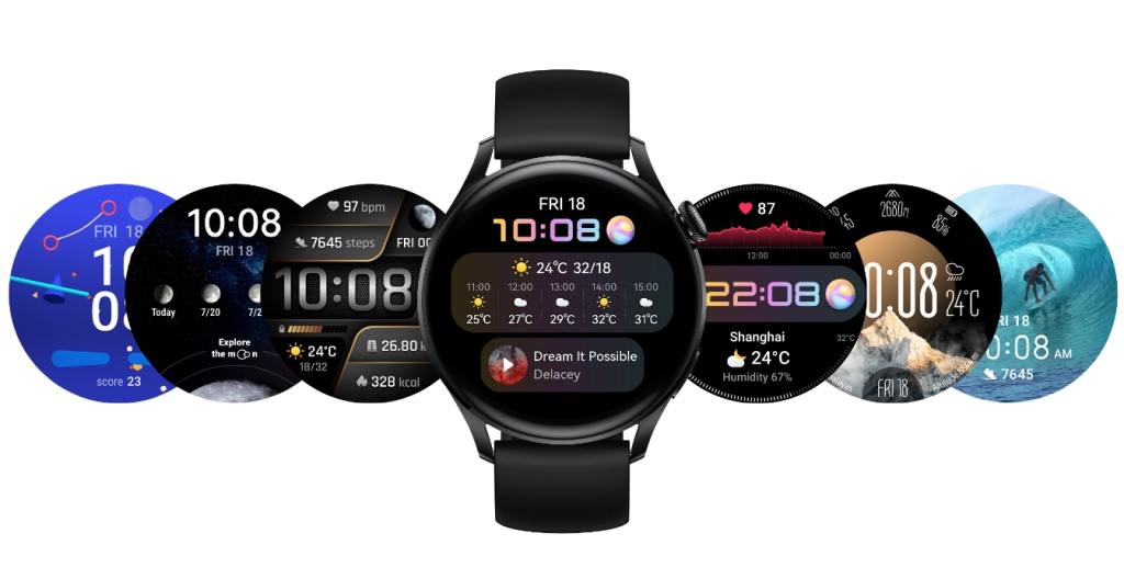 The various colourful face designs of the Huawei Watch 3