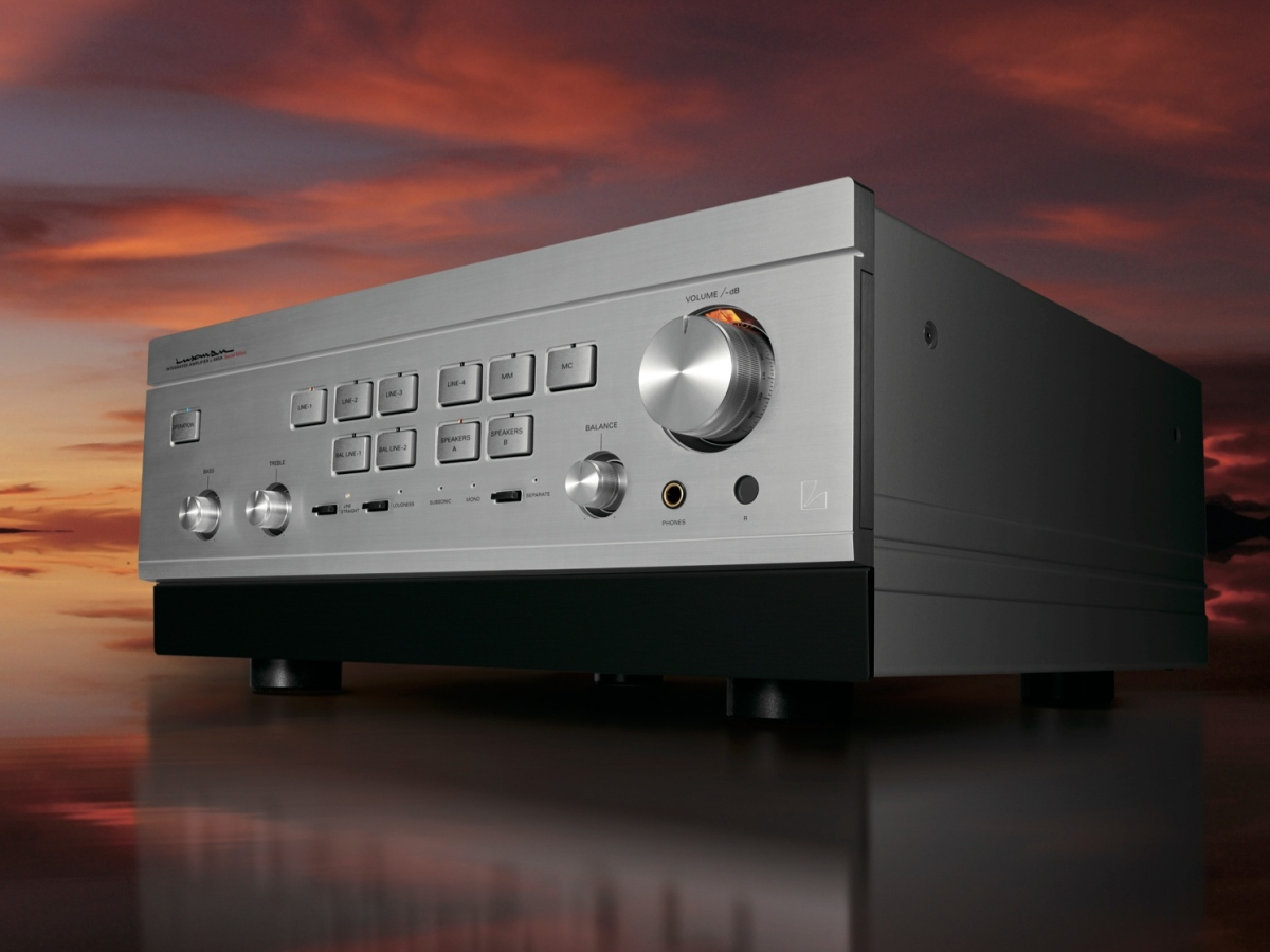 Luxman L-595A SE stereo amp against a moody sunset