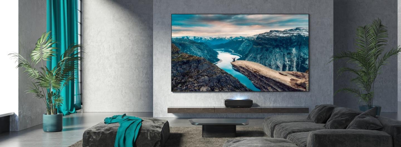 Hisense Laser TV projector in a smart living room