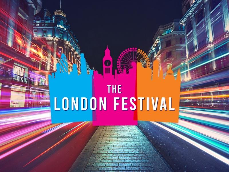 The London Festival 2023 logo amid a city street scene