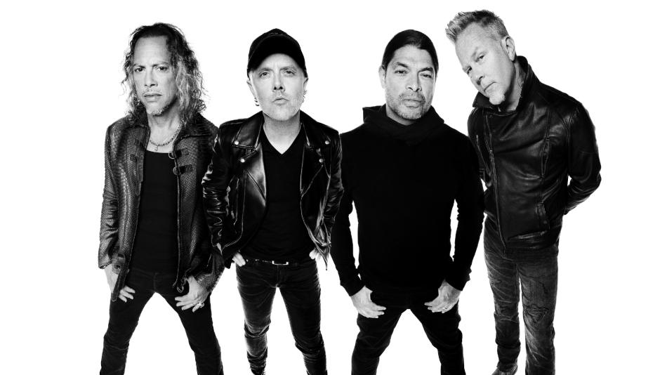 Metallica pose in black and white shot