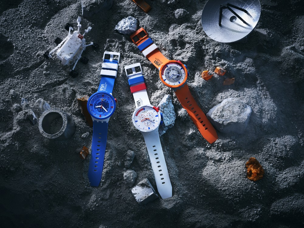 The Swatch Space Collection, a collaboration with NASA, on a moon-like surface