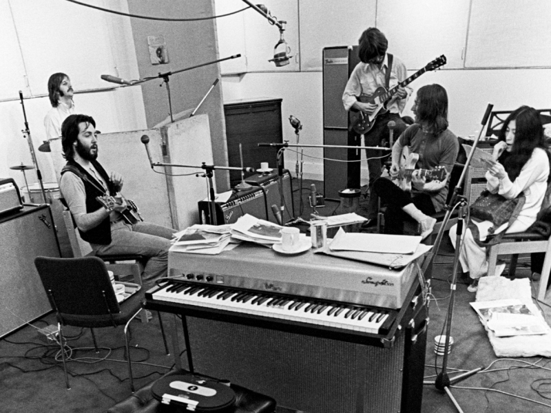 The Beatles recording in Abbey Road Studios