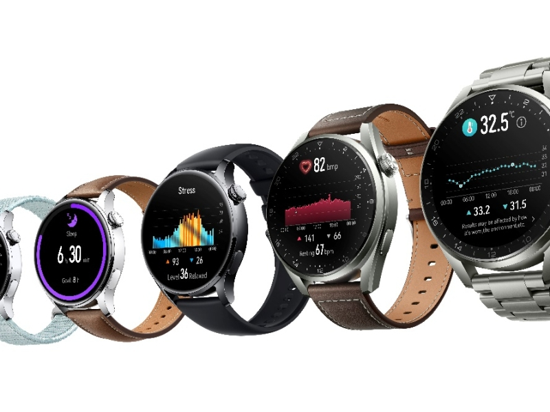 The Huawei Watch 3 Pro range side by side with various strap styles