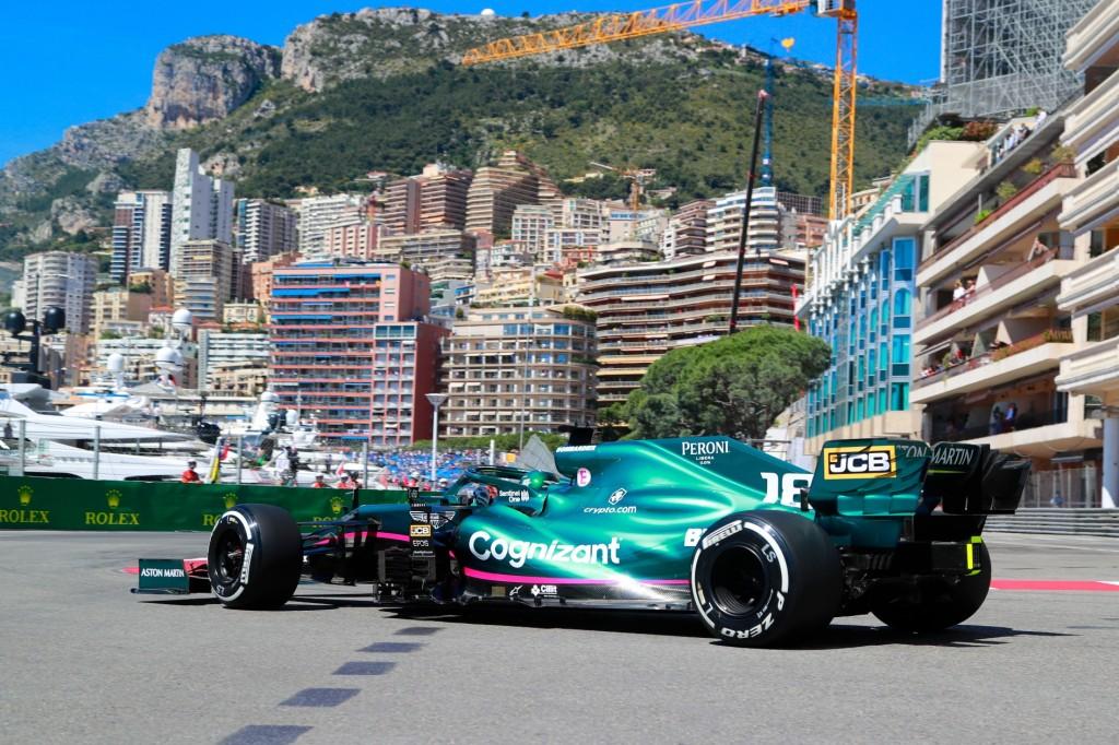 Aston martin F1 AMR21 race star on the streets at Monaco GP