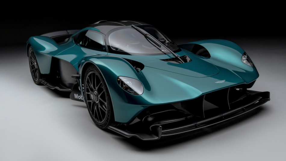 Aston Martin Valkyrie hypercar in showroom