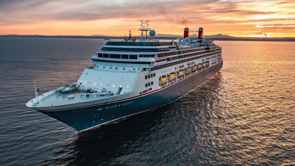 Fred Olsen Borealis cruise ships sails into the sunset