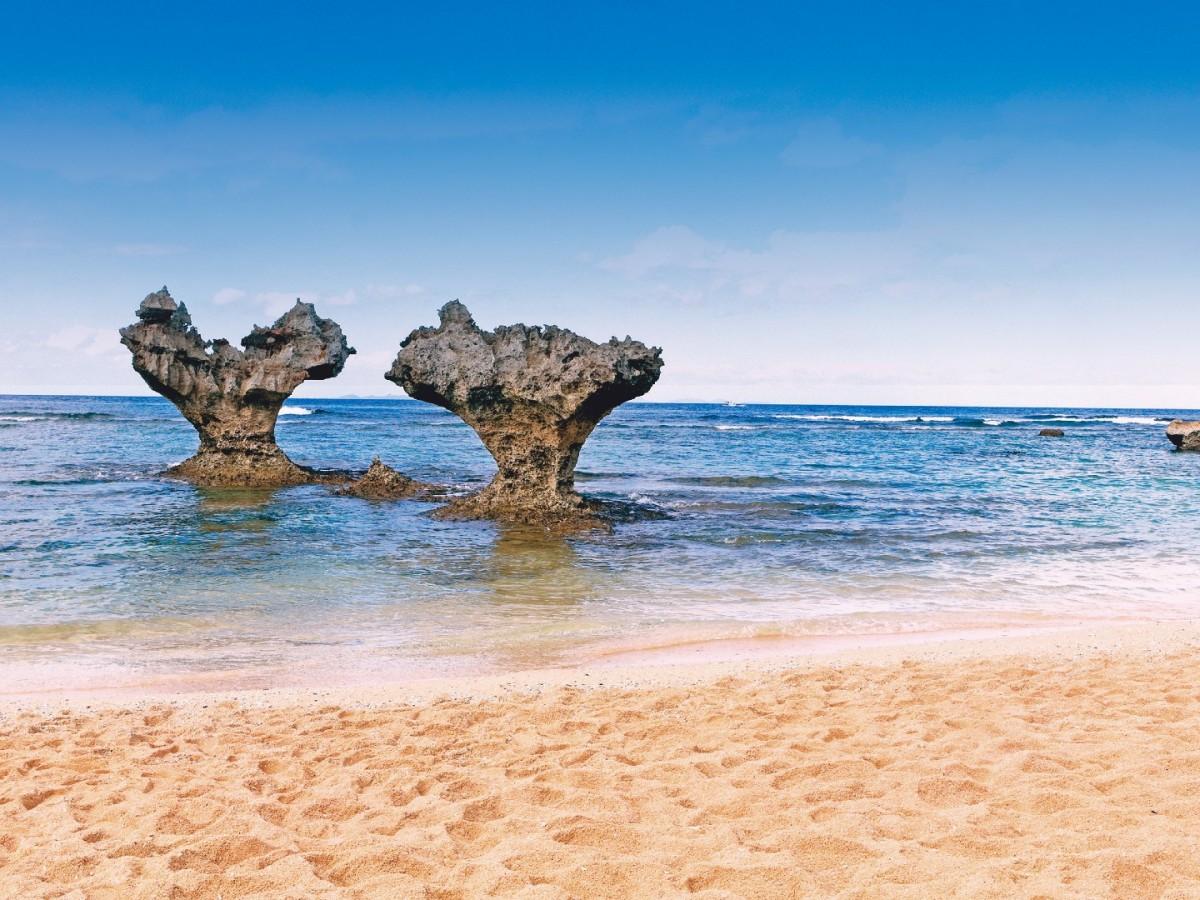 Heart-shaped rocks in the sea at Kouri island